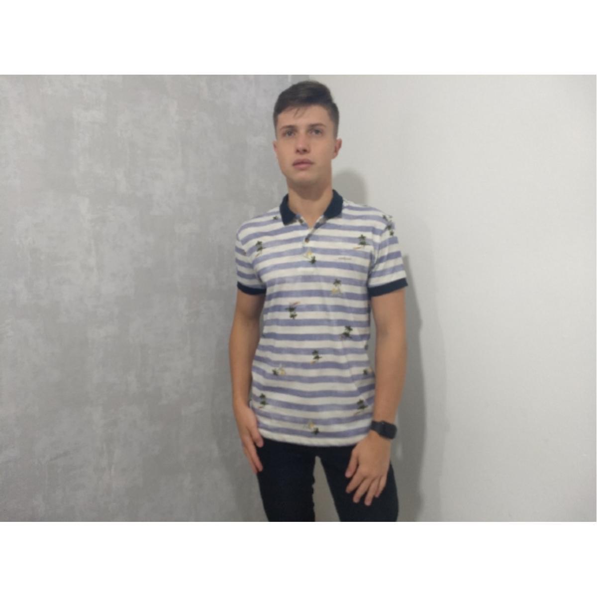 Camiseta Masculina Colcci 250102458 Vc34 Branco Listrado/azul