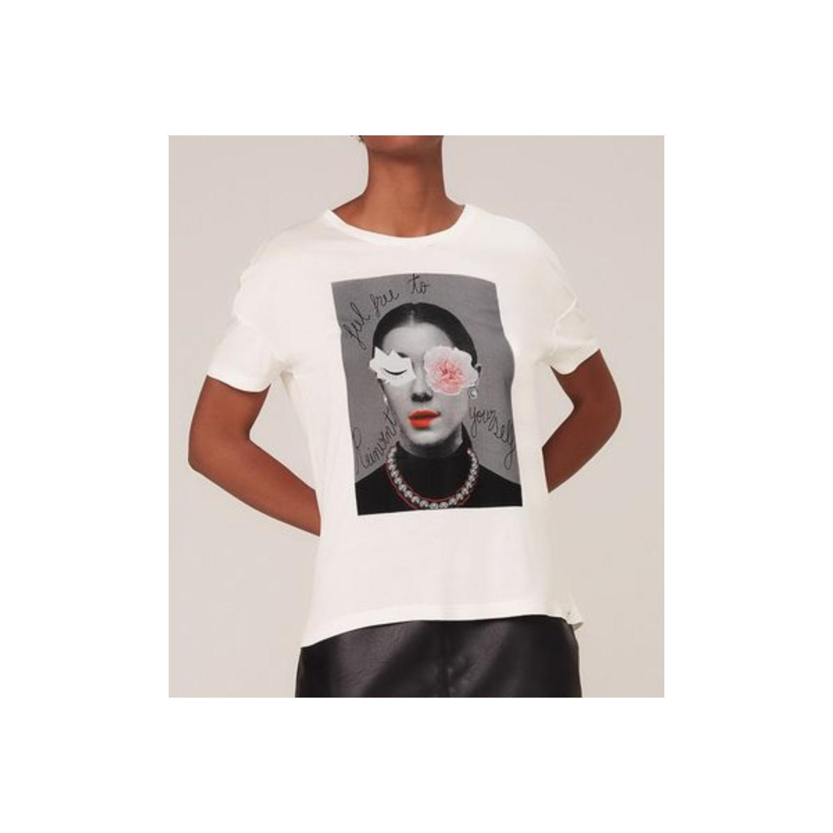 Camiseta Feminina Dzarm 6rzy Nmcen Off White