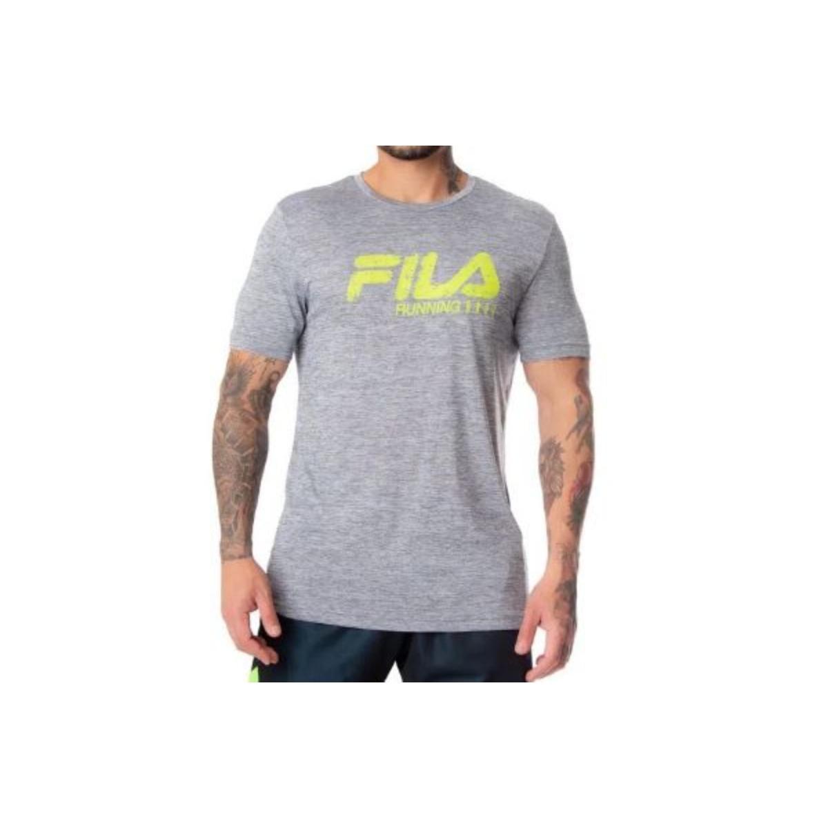 Camiseta Masculina Fila Rp180769.948 Run Bars Melange Mescla Cinza