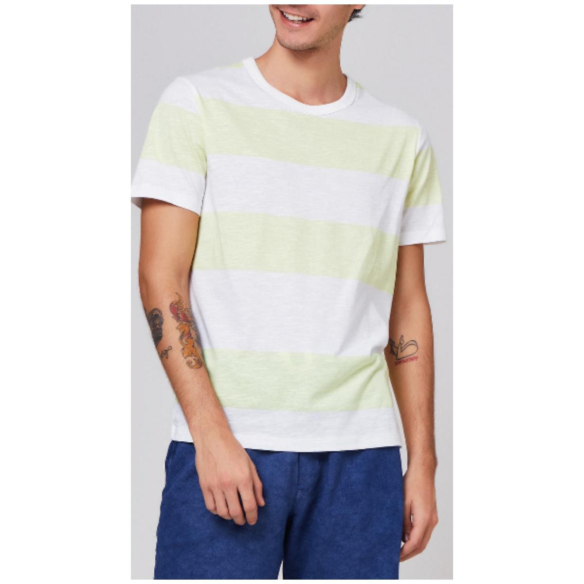 Camiseta Masculina Hering 4eux 1aen Branco/verde