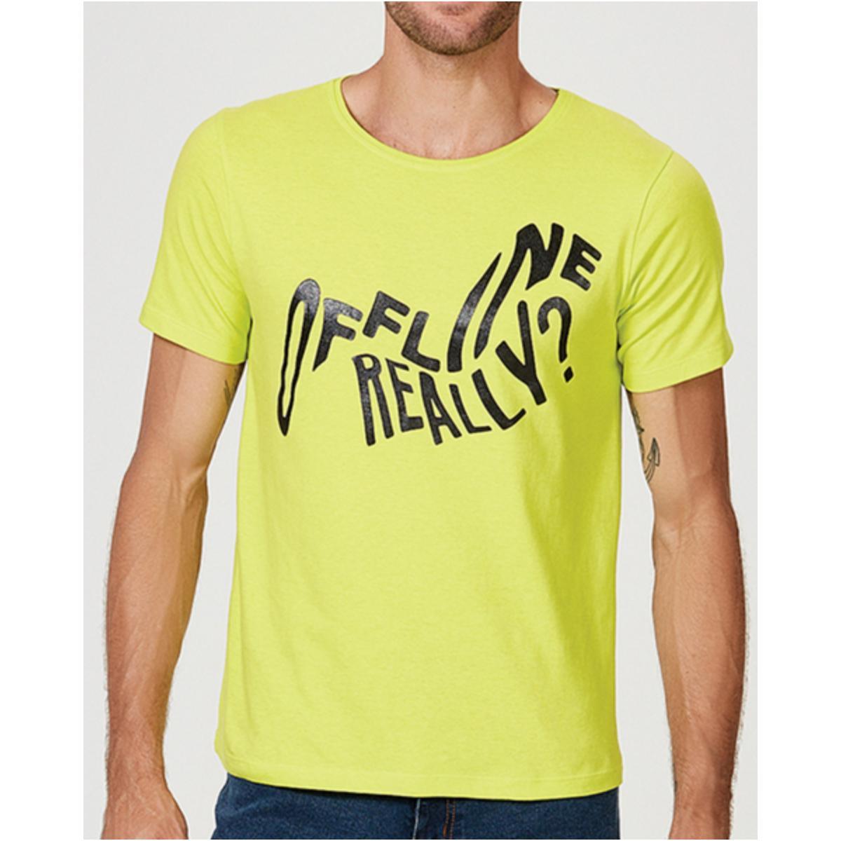 Camiseta Masculina Hering 4f1h Wh2en Amarelo Limão