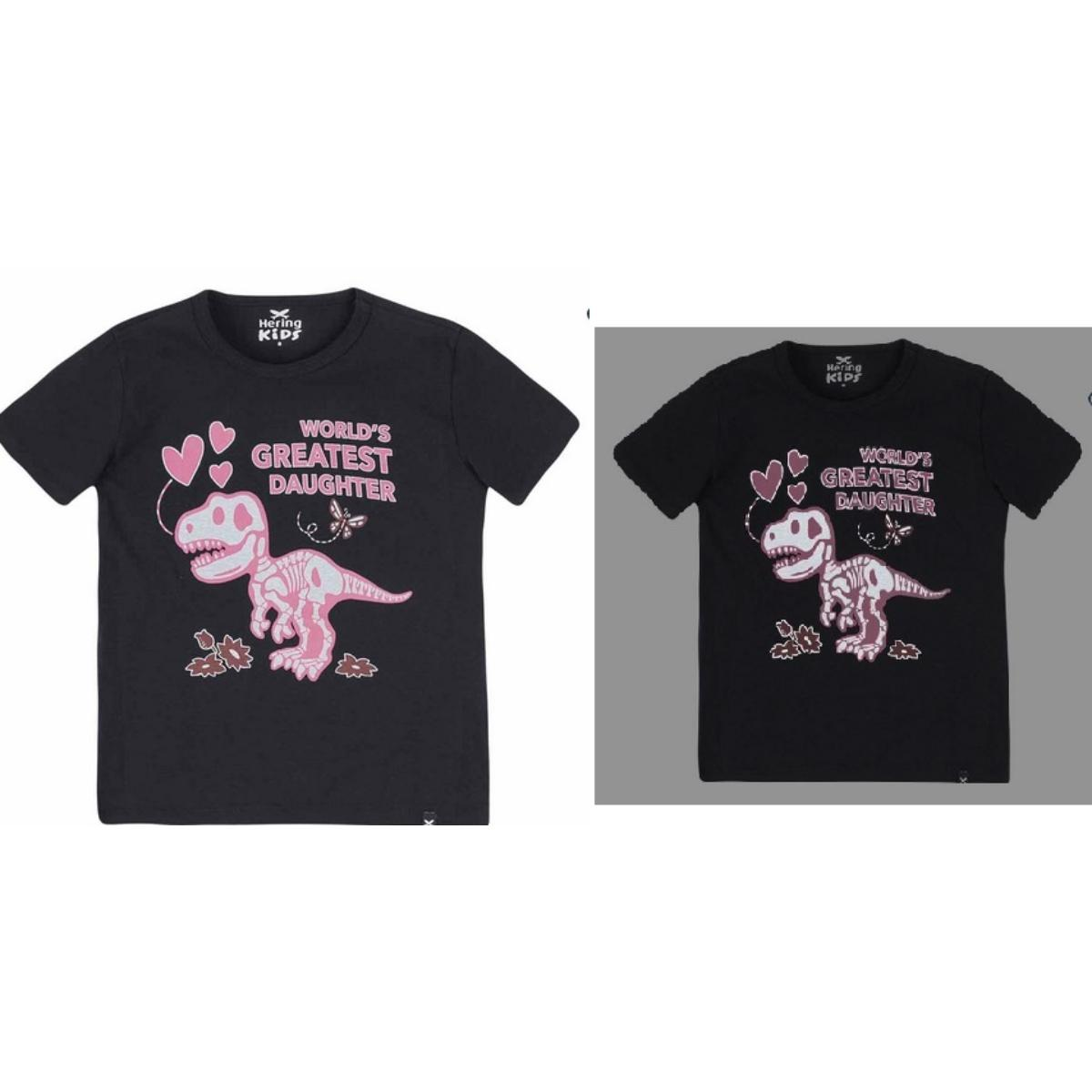 Camiseta Uni Infantil Hering Kids 4ek4 1cen Preto Estampado