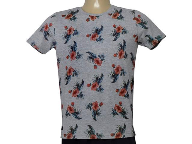 Camiseta Masculina King & Joe Ca09305 Cinza Floral
