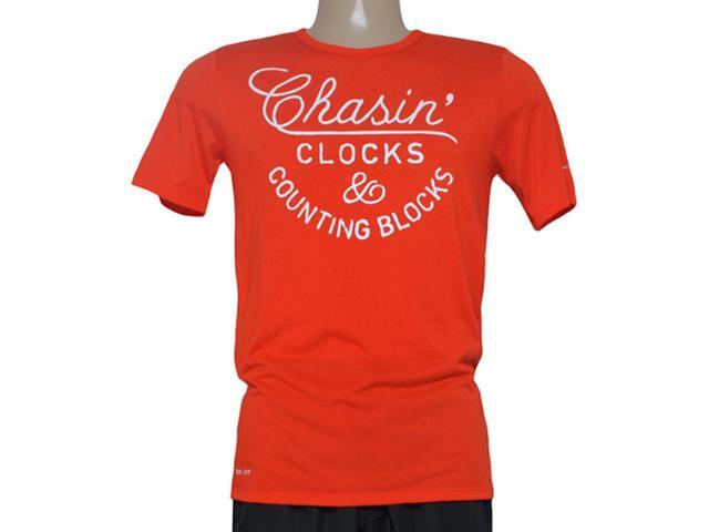 Camiseta Masculina Nike 684017-891 Run p Chasin Clocks Tee  Laranja