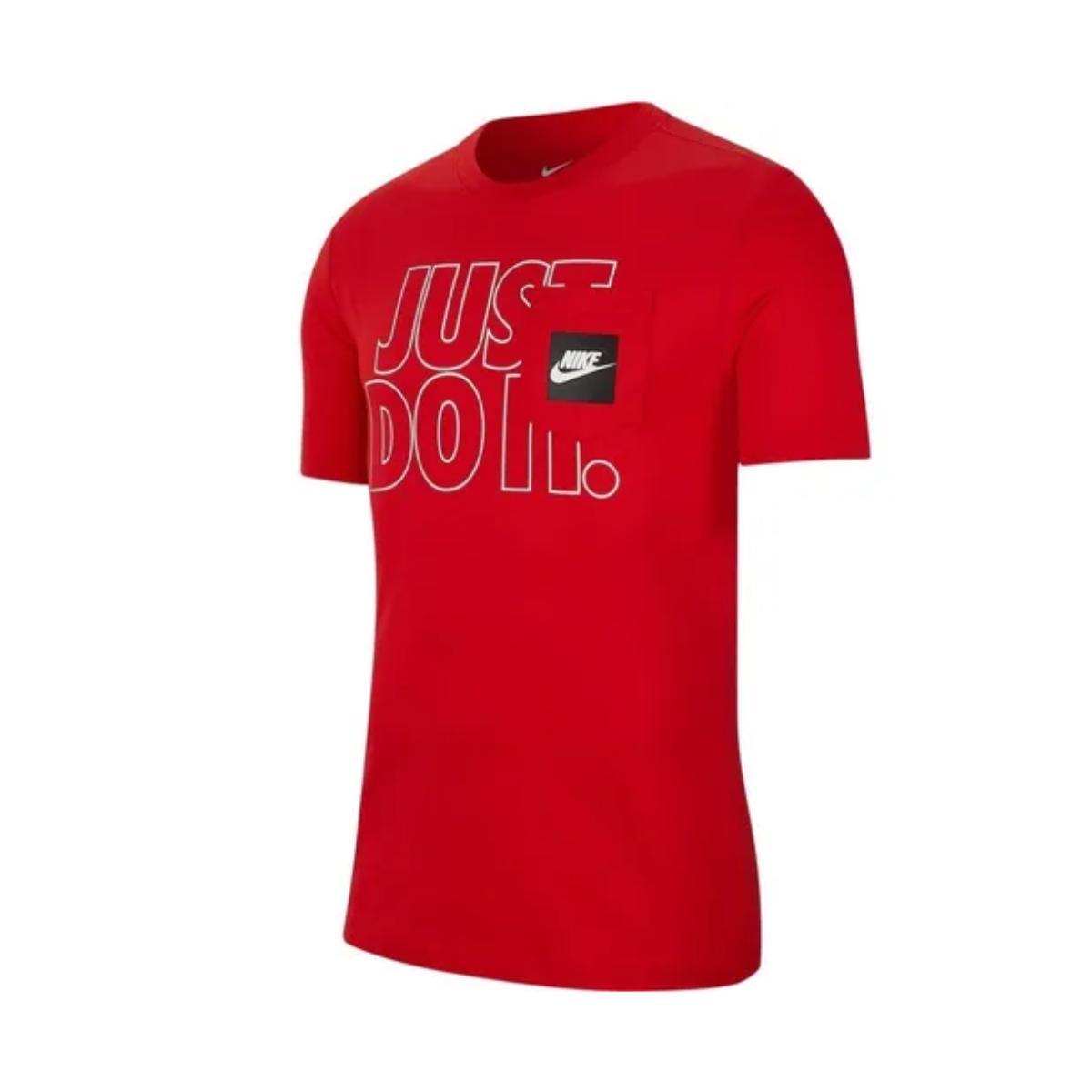 Camiseta Masculina Nike Cd9592-657 Nsw ss Pkt Tee Jdi Outline Vermelho/branco