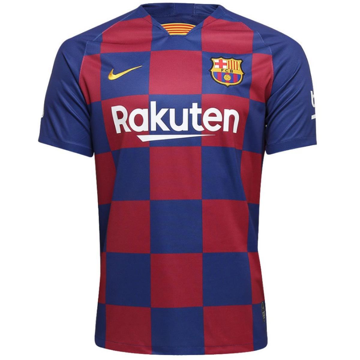 Camiseta Masculina Nike Aj5532-456 Barcelona Stadium 2019/20 Royal/vermelho