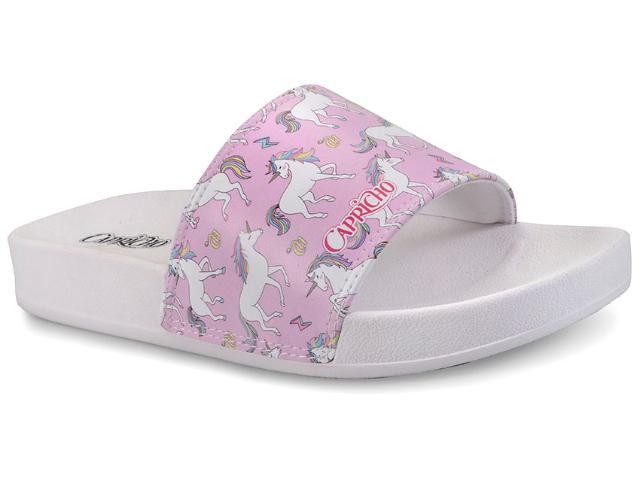 Chinelo Feminino Capricho Cp3080 Slide Unicornio Branco/rosa