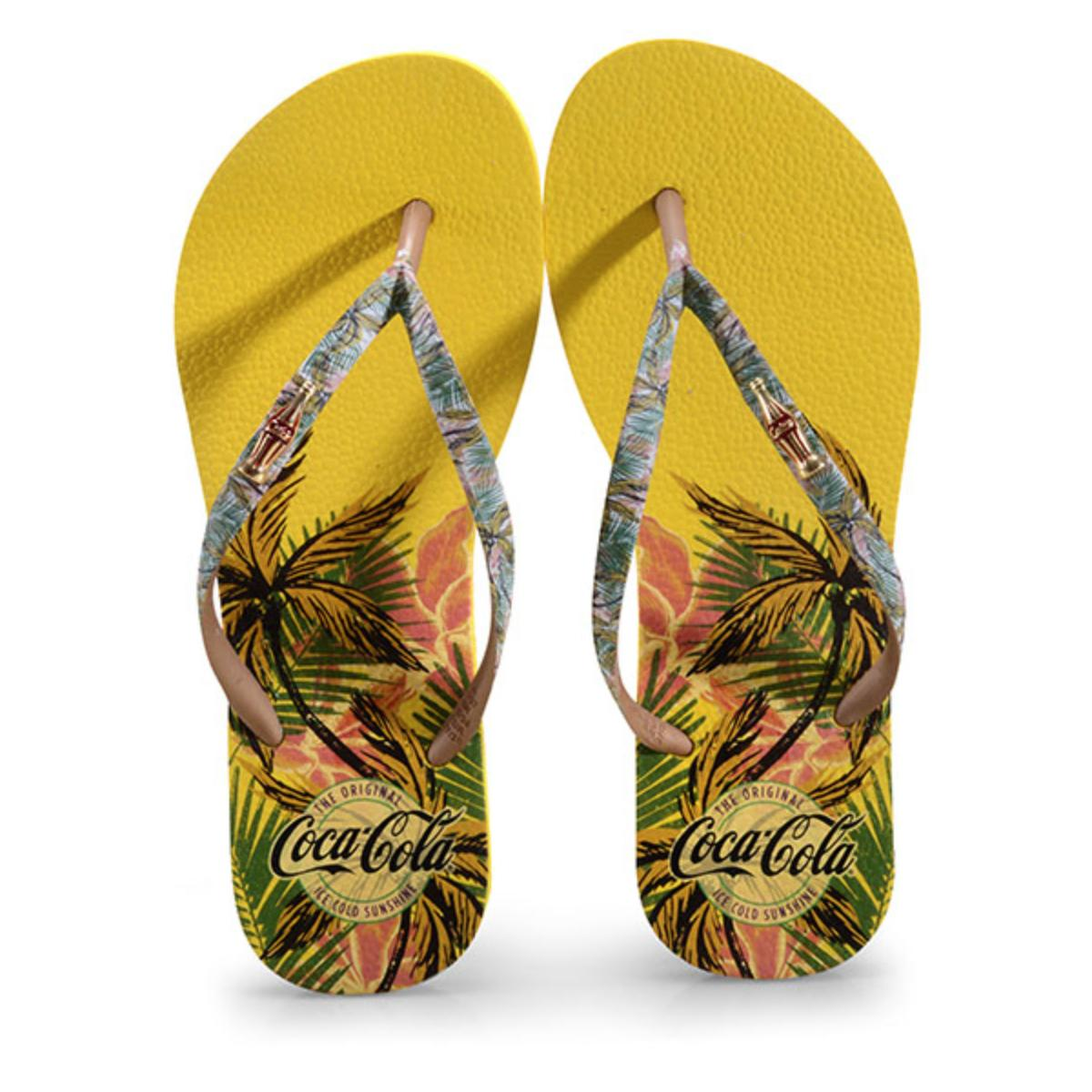 Chinelo Feminino Coca-cola Shoes Cc2877 Amarelo