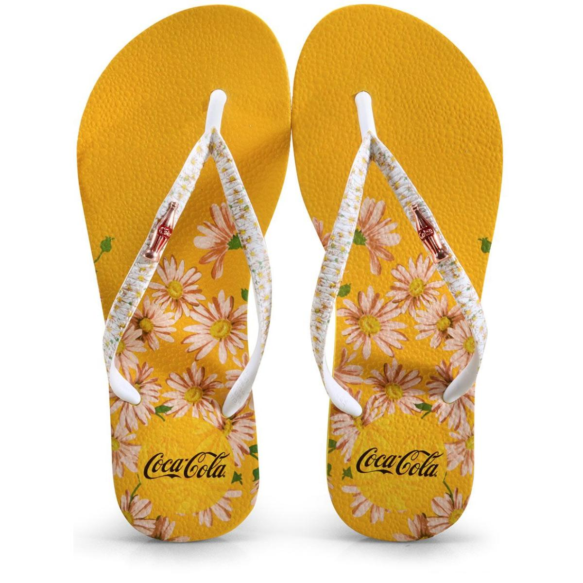 Chinelo Feminino Coca-cola Shoes Cc3110 Amarelo/branco