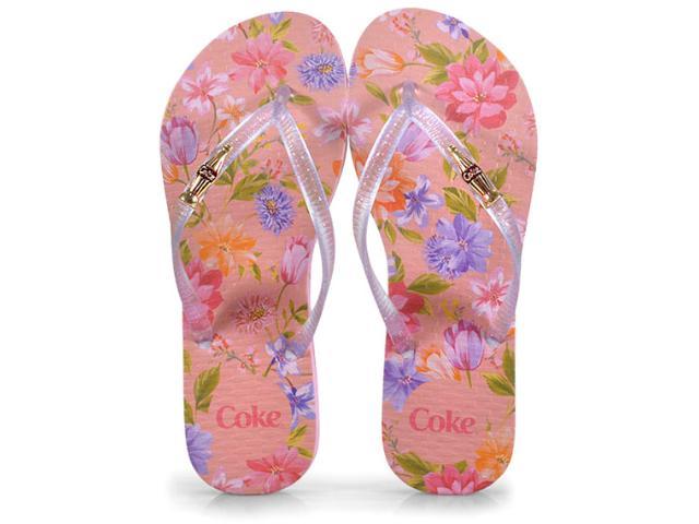 Chinelo Feminino Coca-cola Shoes Cc2578 Rosa Claro/cristal