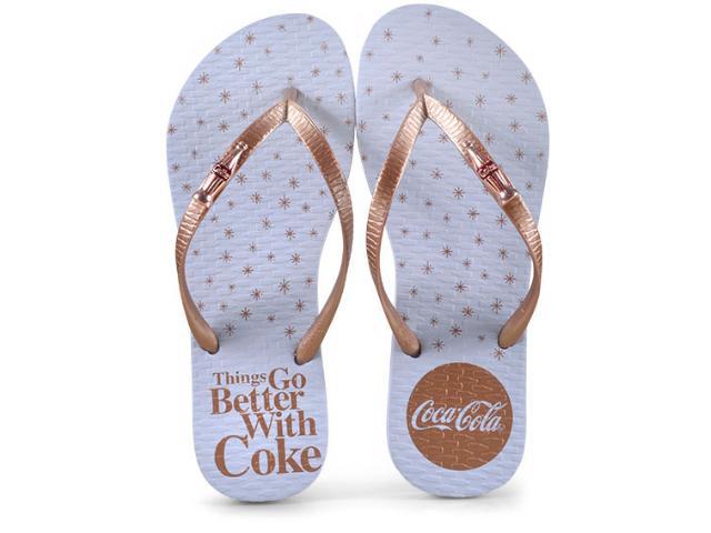 Chinelo Feminino Coca-cola Shoes Cc2609 Branco/cobre