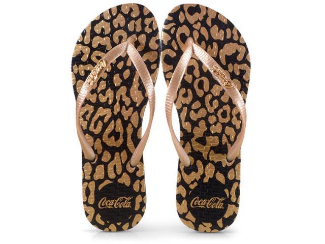 Chinelo Feminino Coca-cola Shoes Cc2587 Preto/ouro