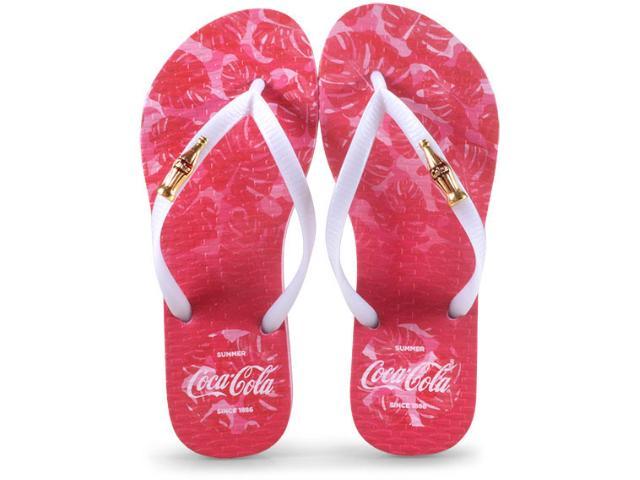 Chinelo Feminino Coca-cola Shoes Cc2586 Rosa Claro/branco