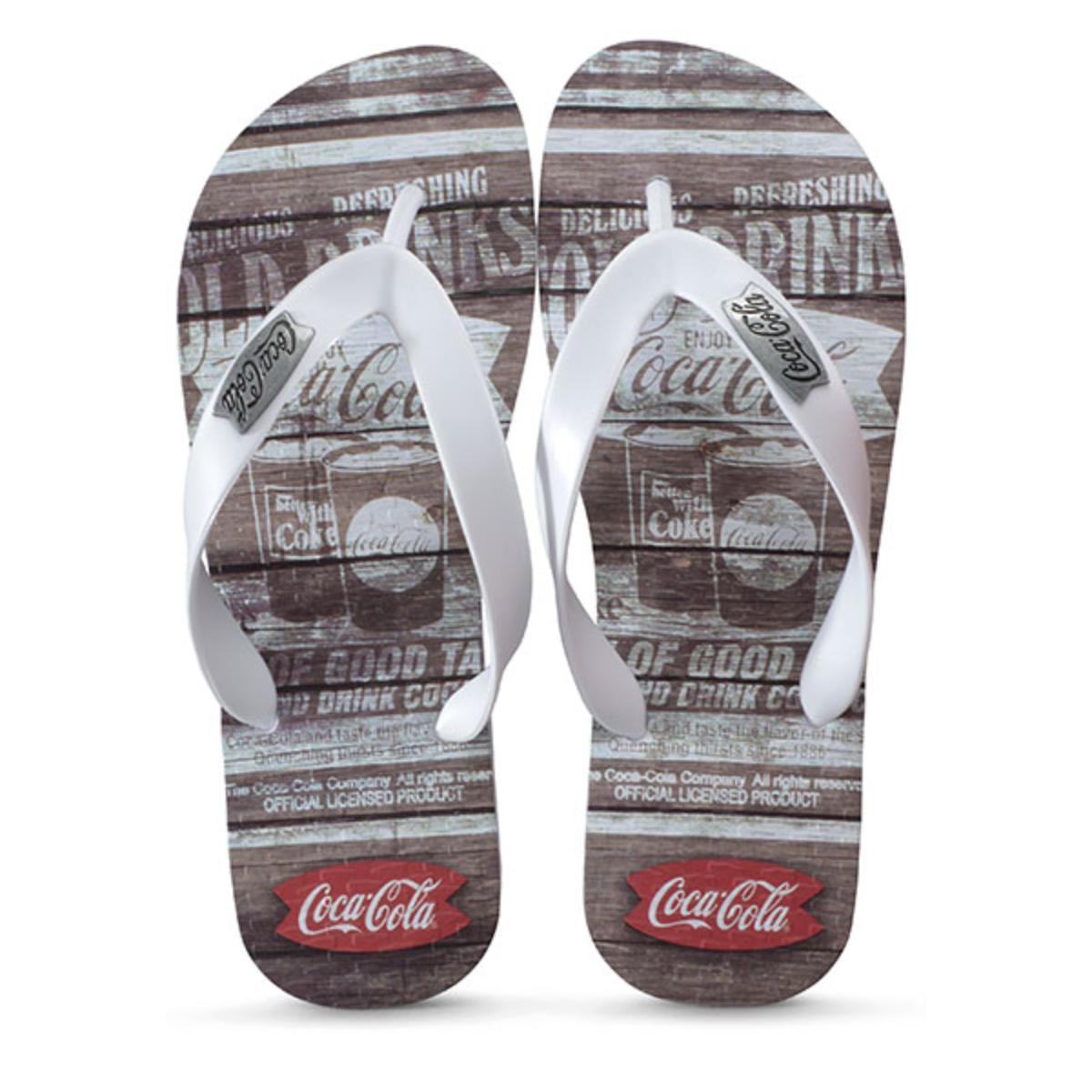 Chinelo Masculino Coca-cola Shoes Cc2680 Liso Branco