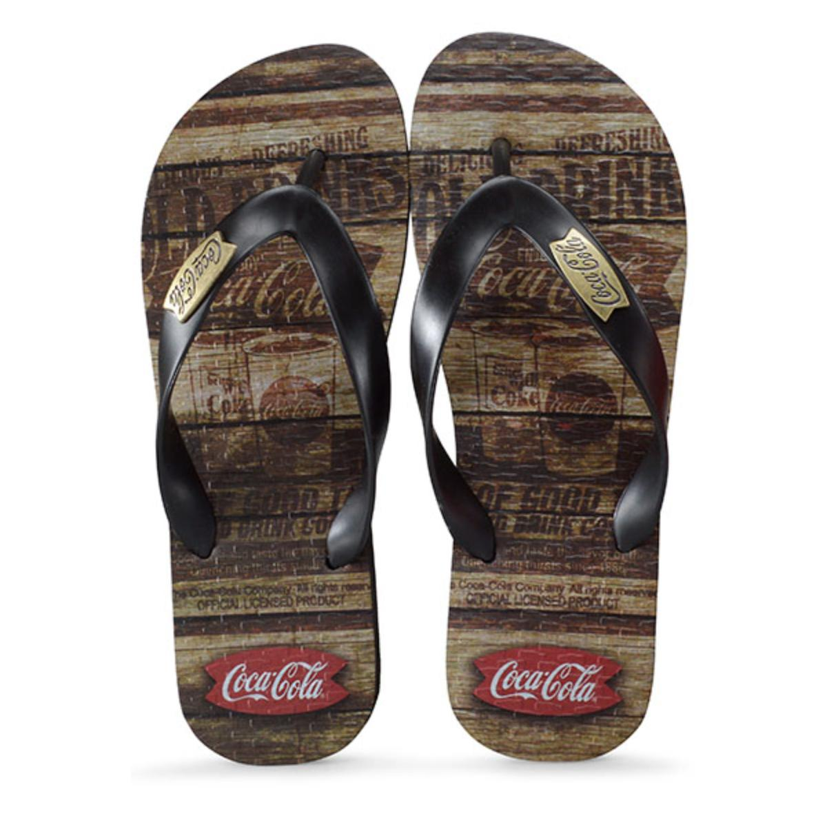 Chinelo Masculino Coca-cola Shoes Cc2680 Liso Preto