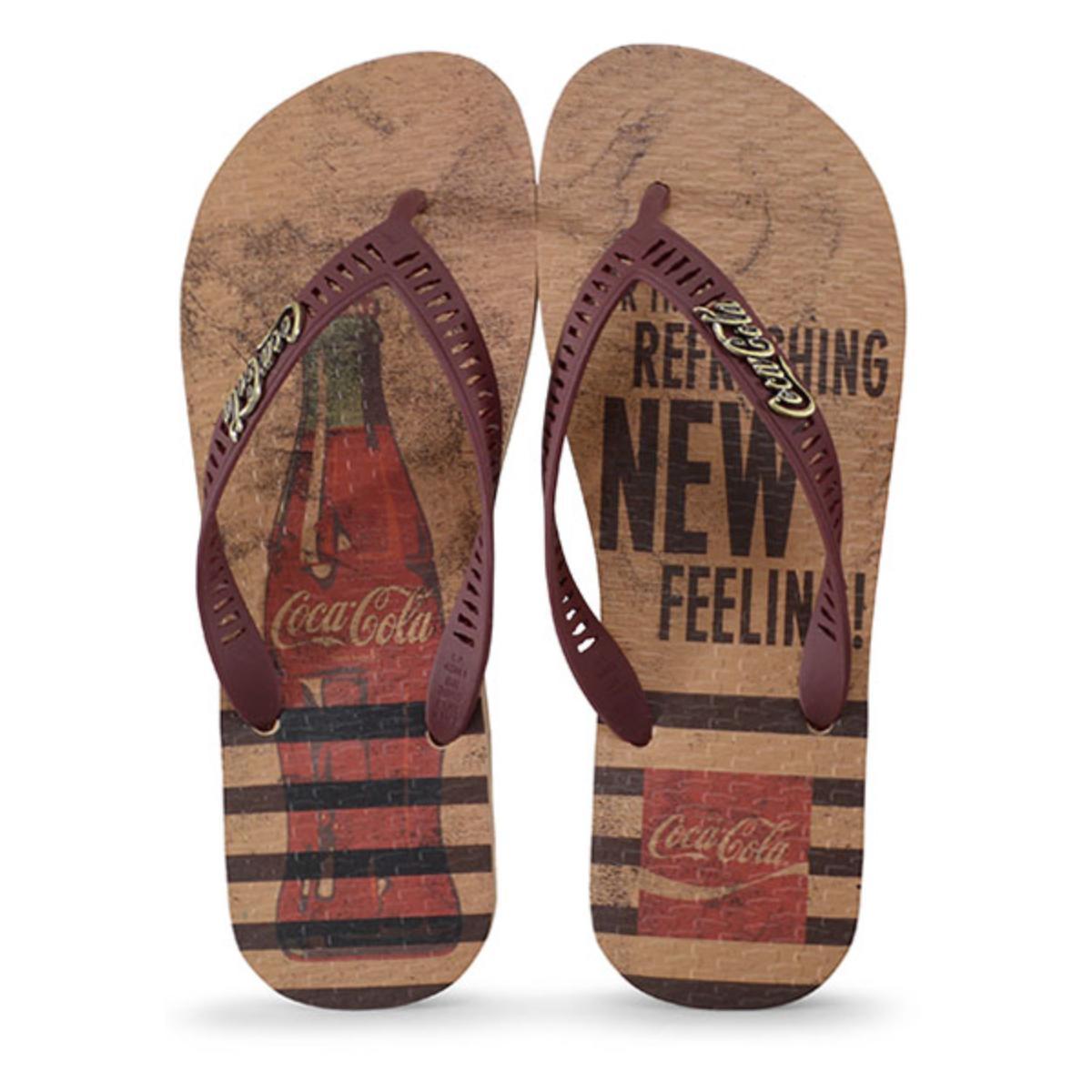 Chinelo Masculino Coca-cola Shoes Cc2856 Bege/bordo