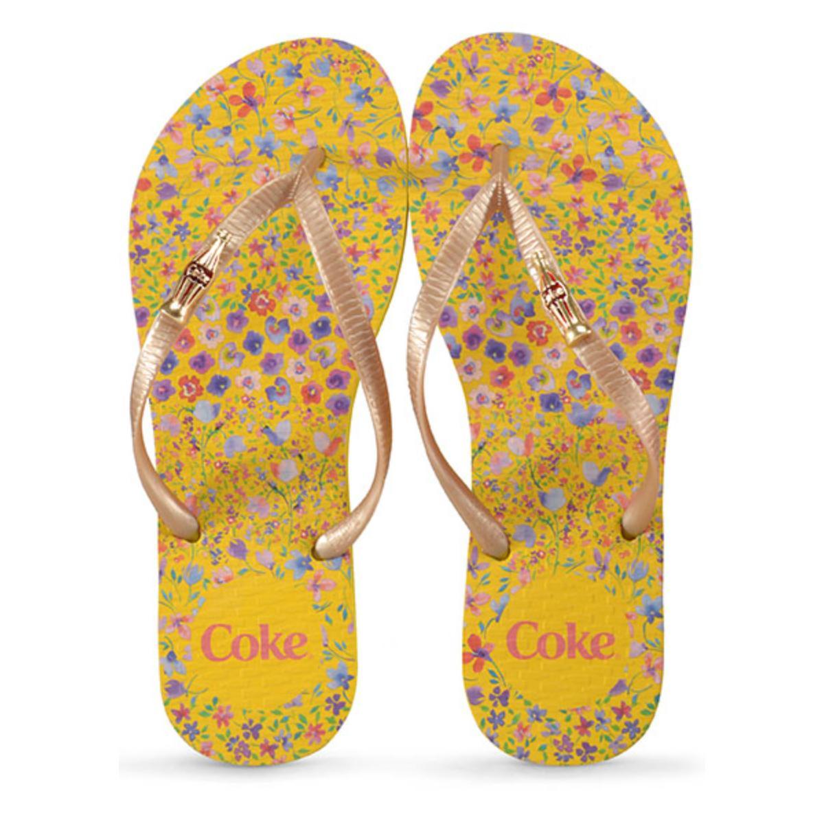 Chinelo Feminino Coca-cola Shoes Cc2869 Amarelo/ouro