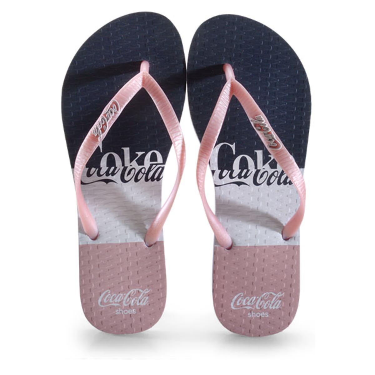 Chinelo Feminino Coca-cola Shoes Cc3007 Branco/rose Metalizado