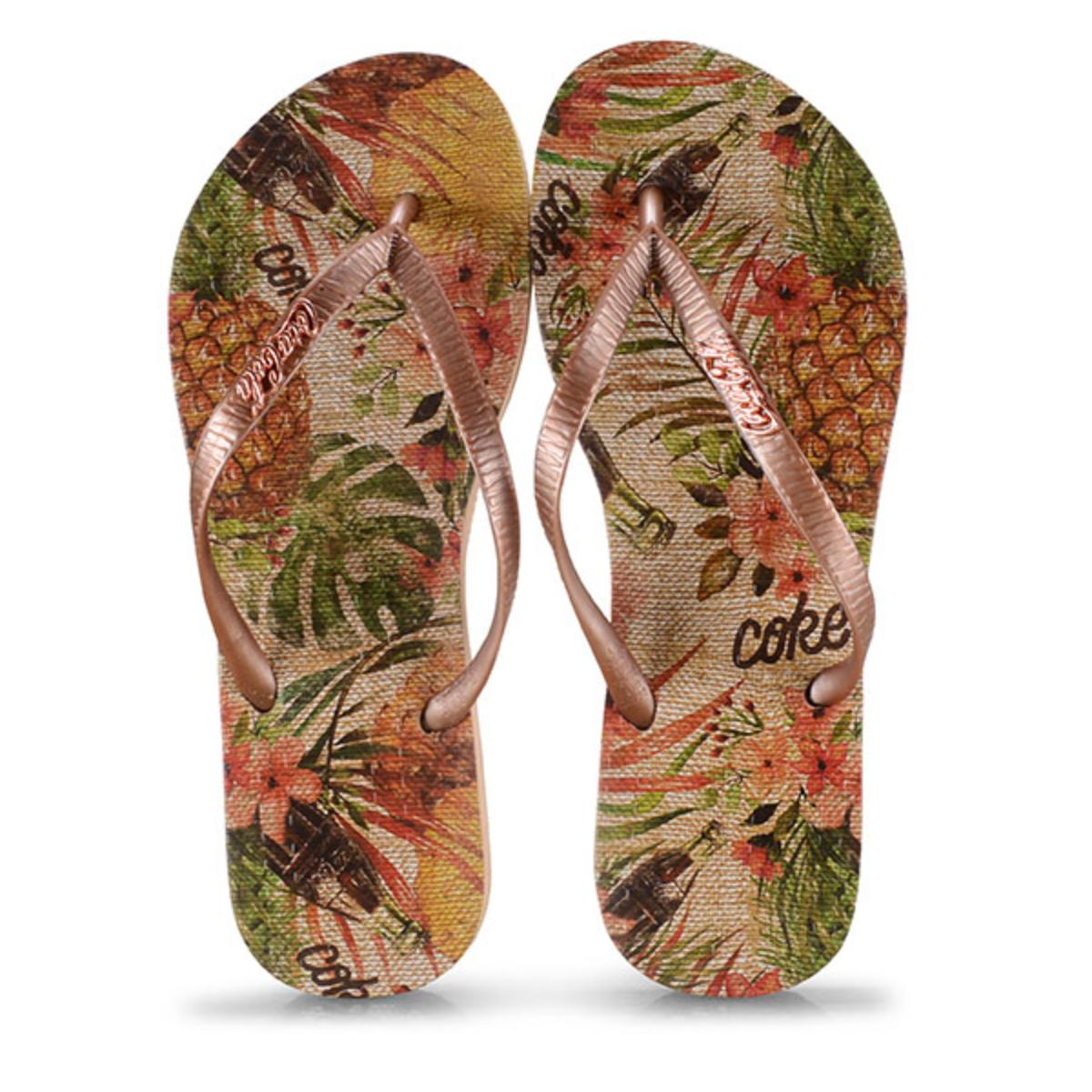 Chinelo Feminino Coca-cola Shoes Cc2742 Bege/cobre