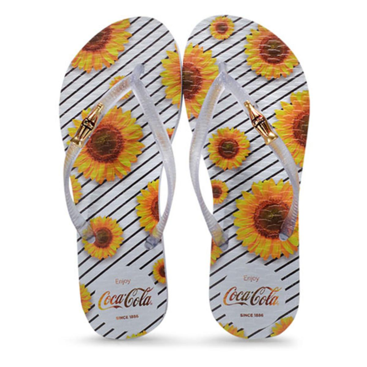Chinelo Feminino Coca-cola Shoes Cc2668 Branco/cristal