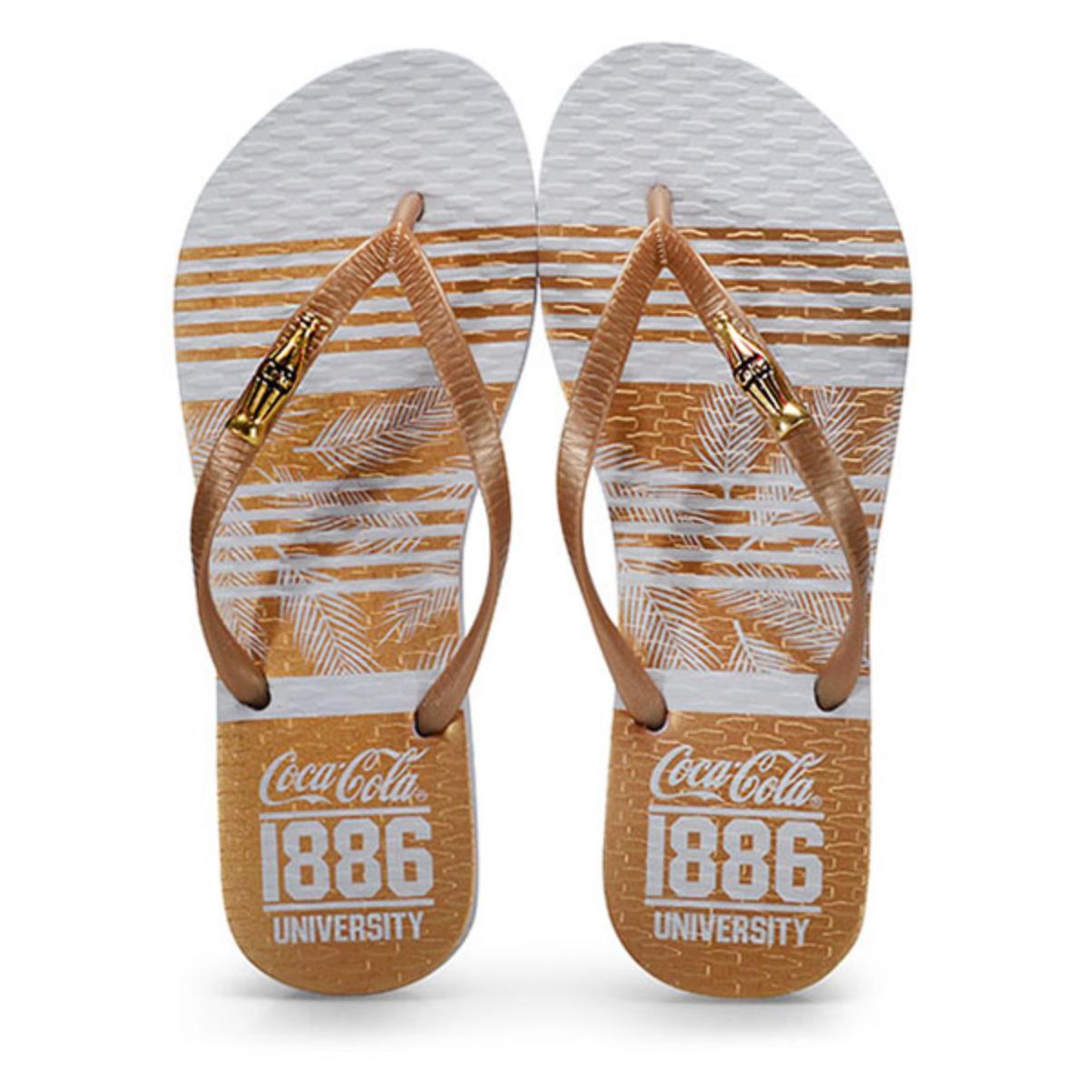 Chinelo Feminino Coca-cola Shoes Cc2703 Branco/ouro