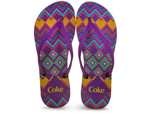 Chinelo Feminino Coca-cola Shoes Ccl2188 Preto/roxo