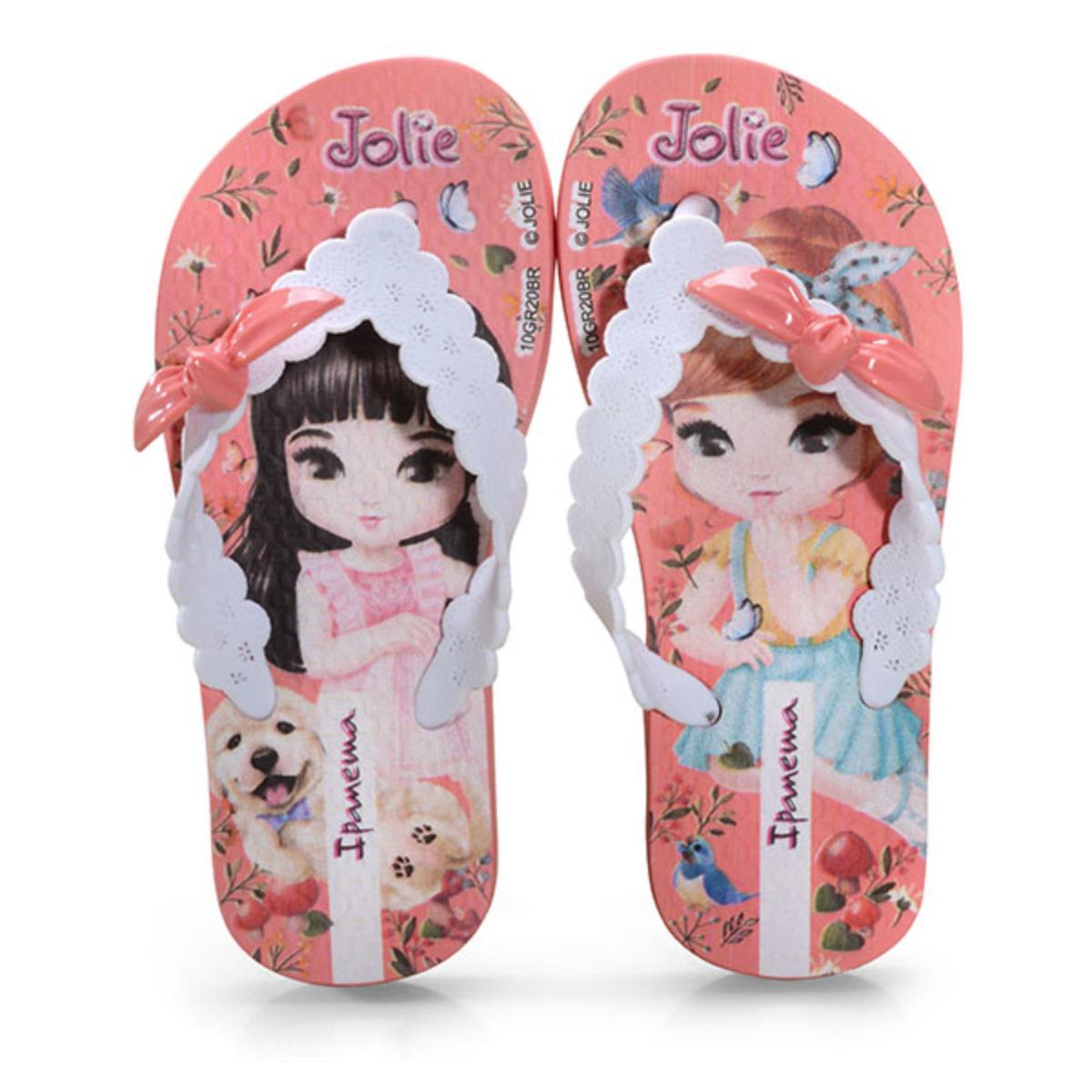 Chinelo Fem Infantil Grendene 26181 20700 Ipanema Jolie Amor Rosa