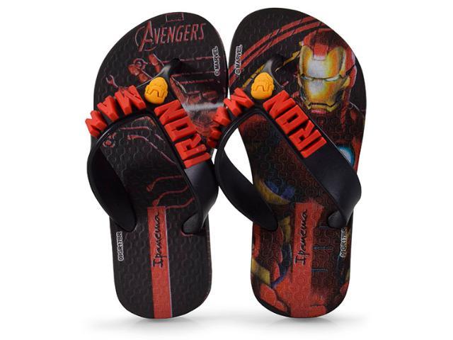 Chinelo Masc Infantil Grendene 26160 Ipanema Avengers Combat  Preto/vermelho
