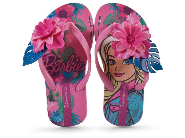 Chinelo Fem Infantil Grendene 26236  21444 Ipanema Barbie Tropical Rosa/azul