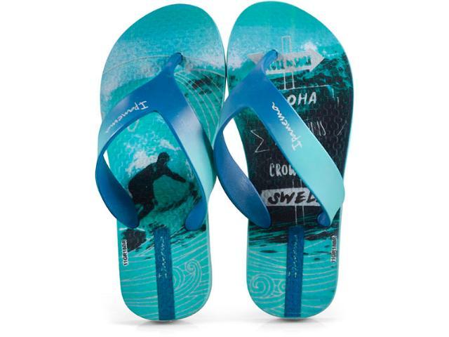 Chinelo Masc Infantil Grendene 25759 22292 Ipanema Deck Inf Azul/verde