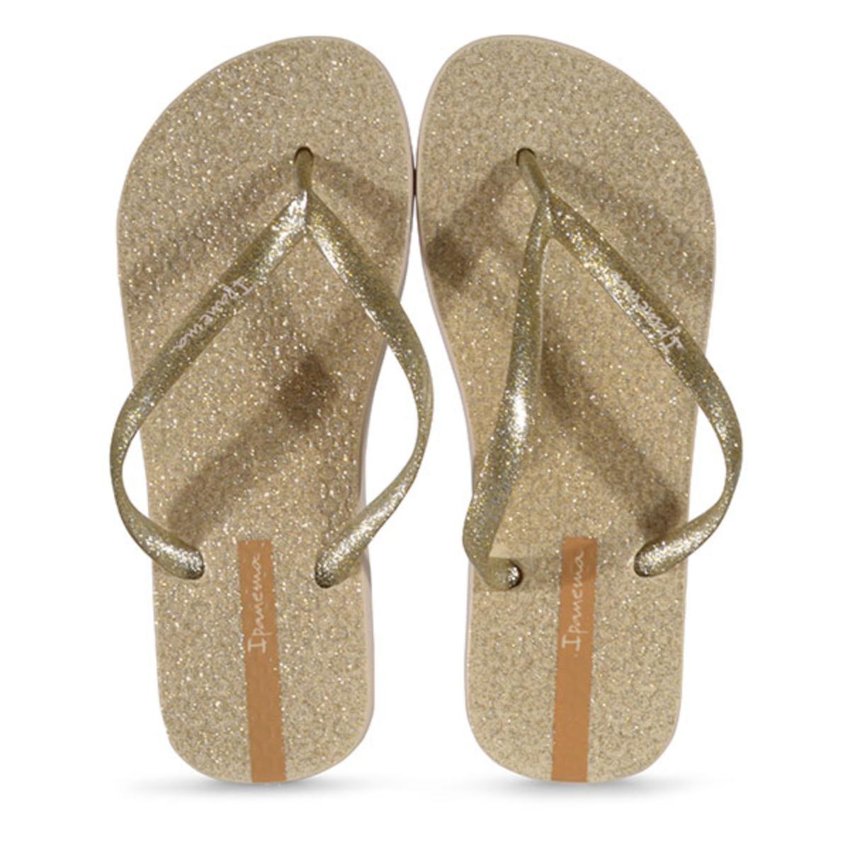 Chinelo Feminino Grendene 26481 25229 Ipanema Glitter Bege/ouro Glitter Prata