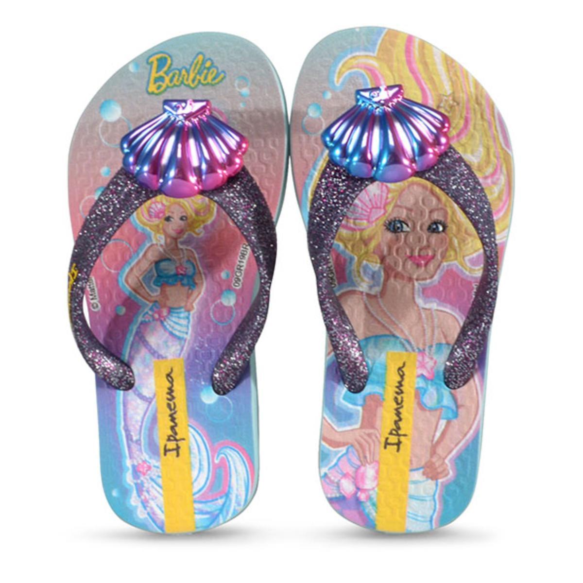 Chinelo Fem Infantil Grendene 26380 25163 Ipanema Barbie Sereia Azul Gliter Misto