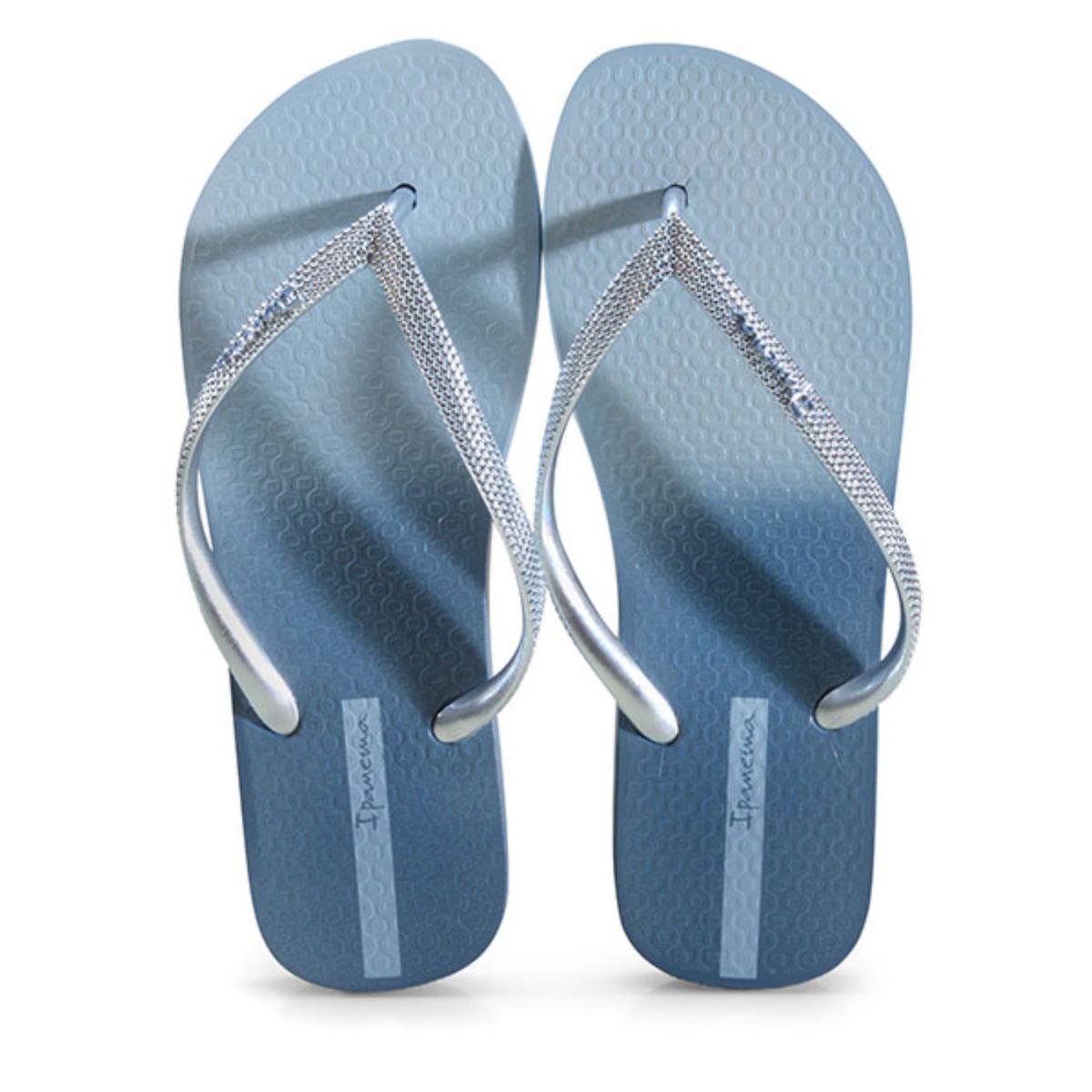 Chinelo Feminino Grendene 26580 25385 Ipanema Blush Azul Metalizado