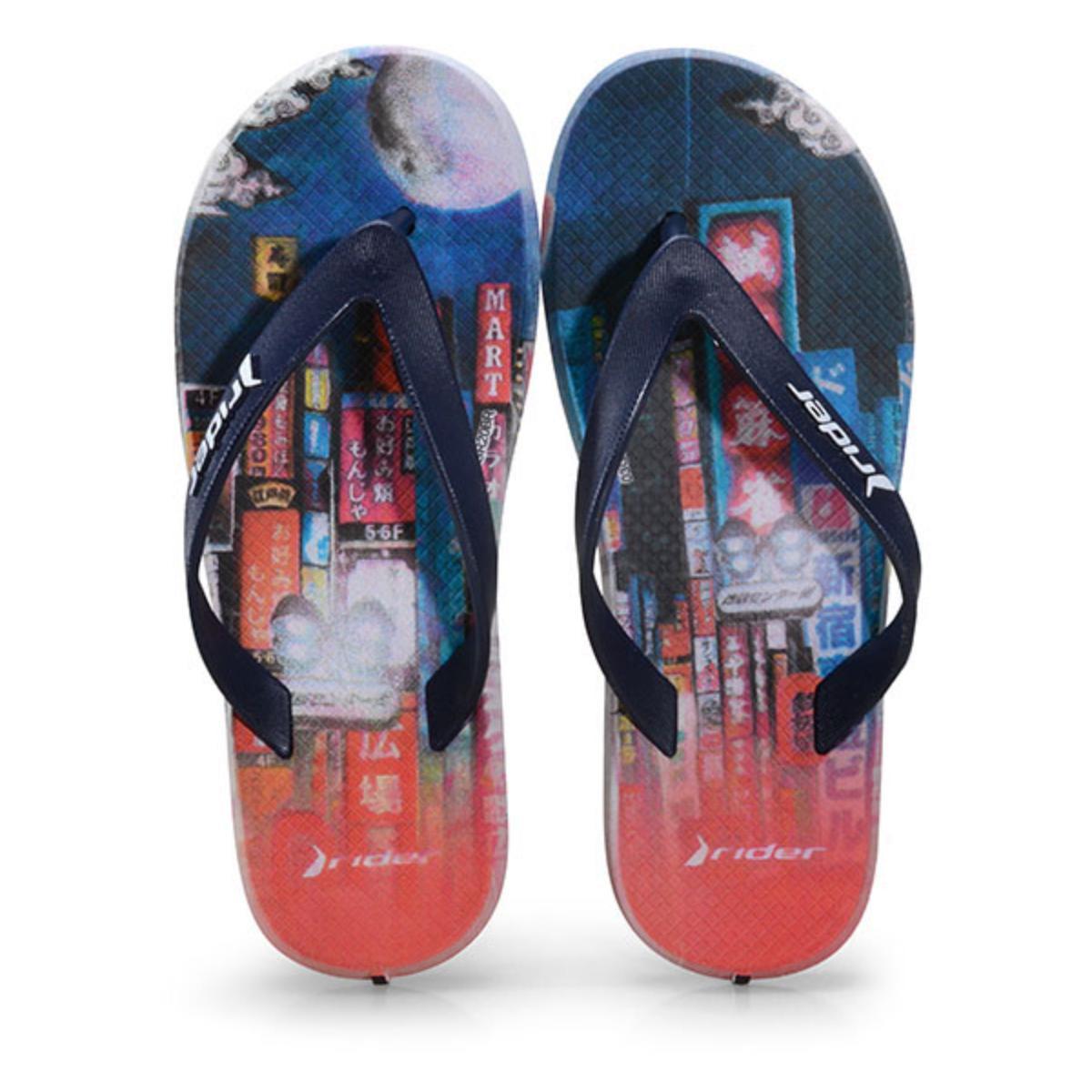 Chinelo Masc Infantil Grendene 10718 25474 Rider r1 Play  Branco/azul/vermelho