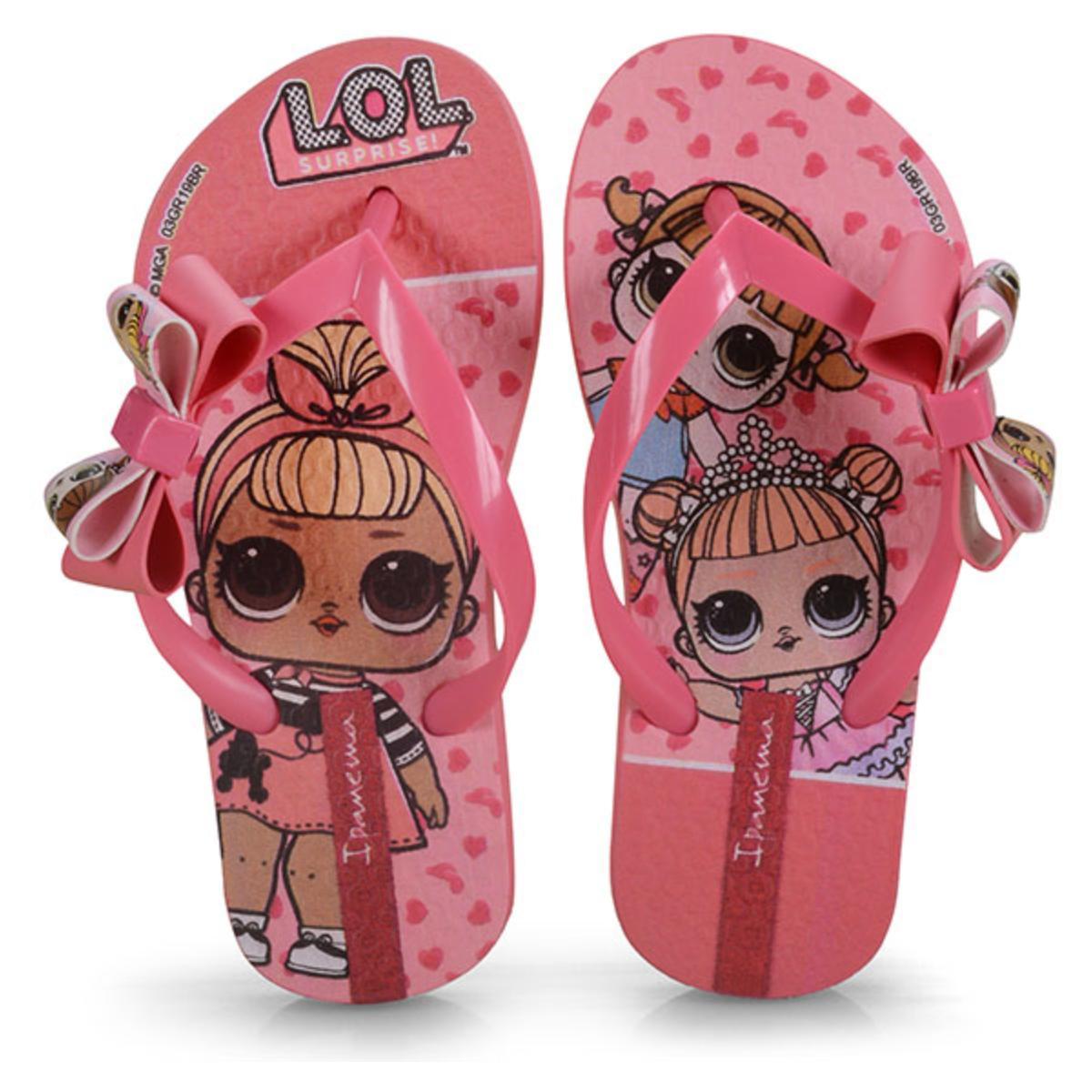Chinelo Fem Infantil Grendene 26350 20791 Ipanema Lol Suprise Iii Rosa/rosa