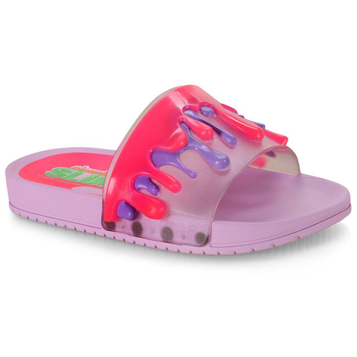 Chinelo Fem Infantil Grendene 22153 24250 Slime Nickelodeon Slide Lilas/rosa