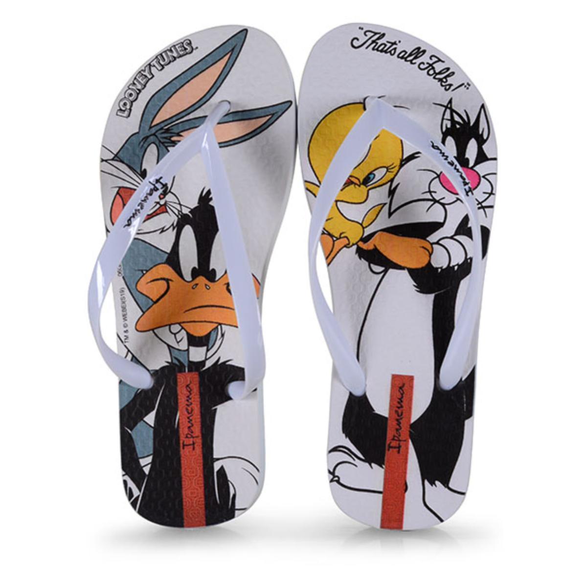 Chinelo Feminino Grendene 26433 20790 Ipanema Looney Tunes Branco