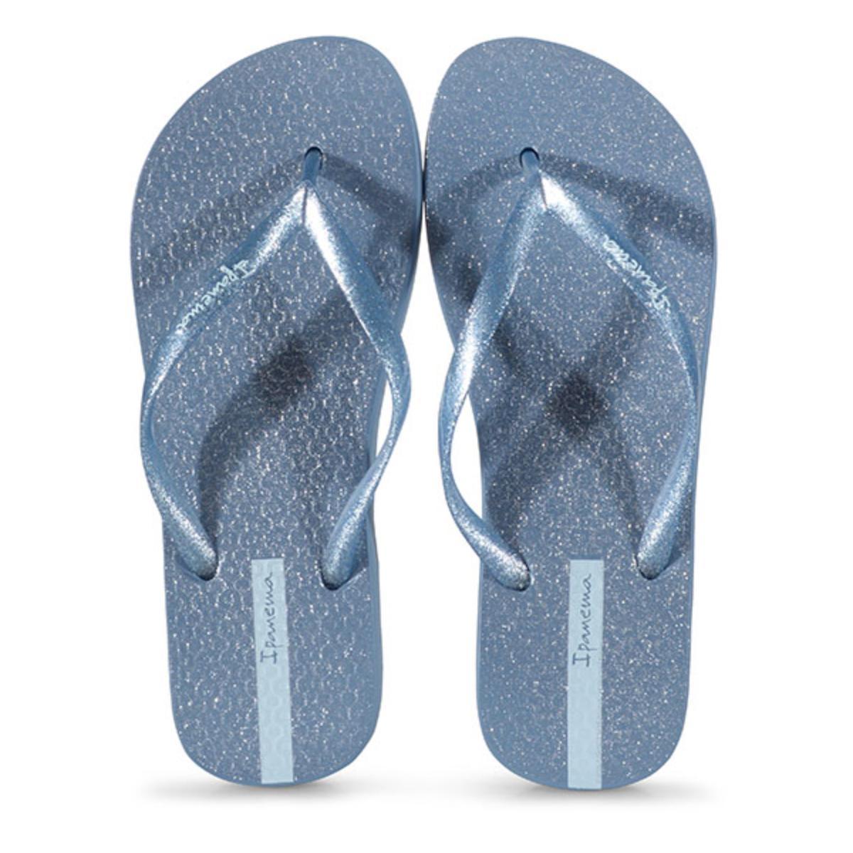 Chinelo Feminino Grendene 26481 25231 Ipanema Glitter Azul Gliter Prata