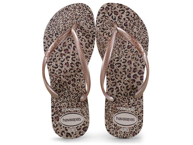 Chinelo Feminino Havaianas Slim Animals Bege Palha/rose