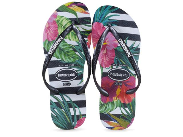 Chinelo Feminino Havaianas Slim Tropical Preto Floral