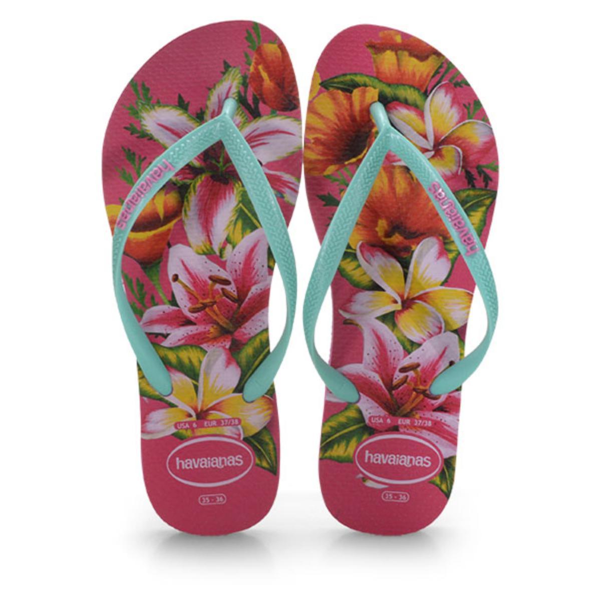 Chinelo Feminino Havaianas Slim Animals Floral Rosa Hollywood