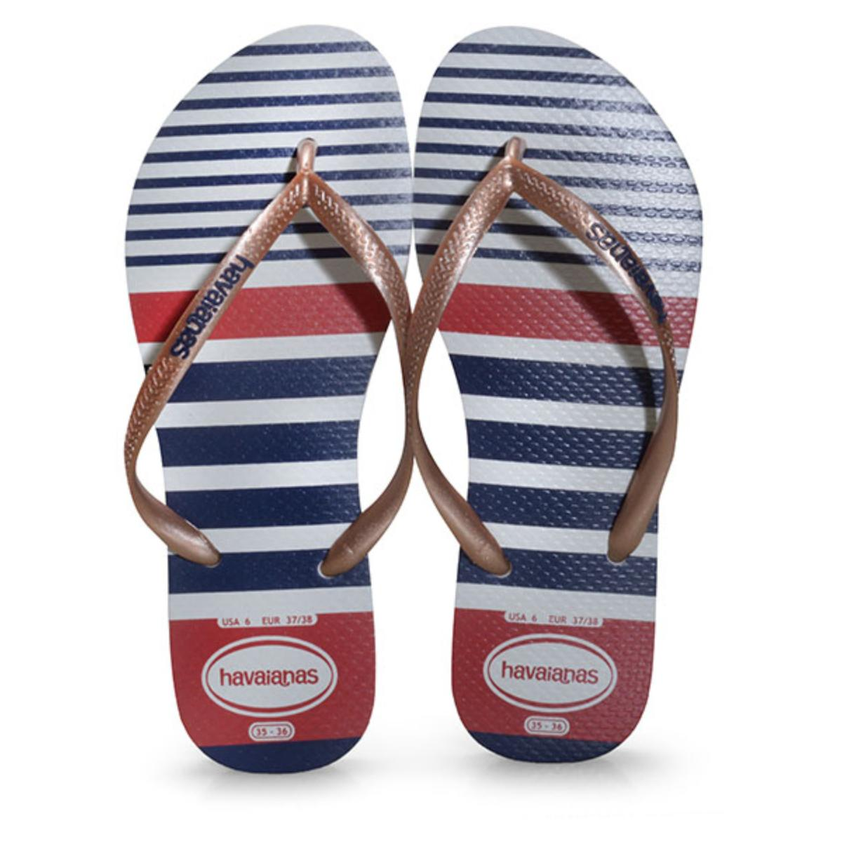 Chinelo Feminino Havaianas Slim Nautical Branco/rose Gold