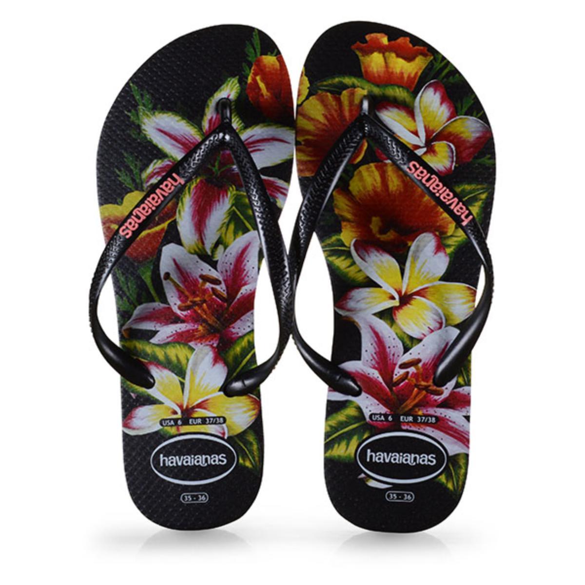 Chinelo Feminino Havaianas Slim Floral fc Preto