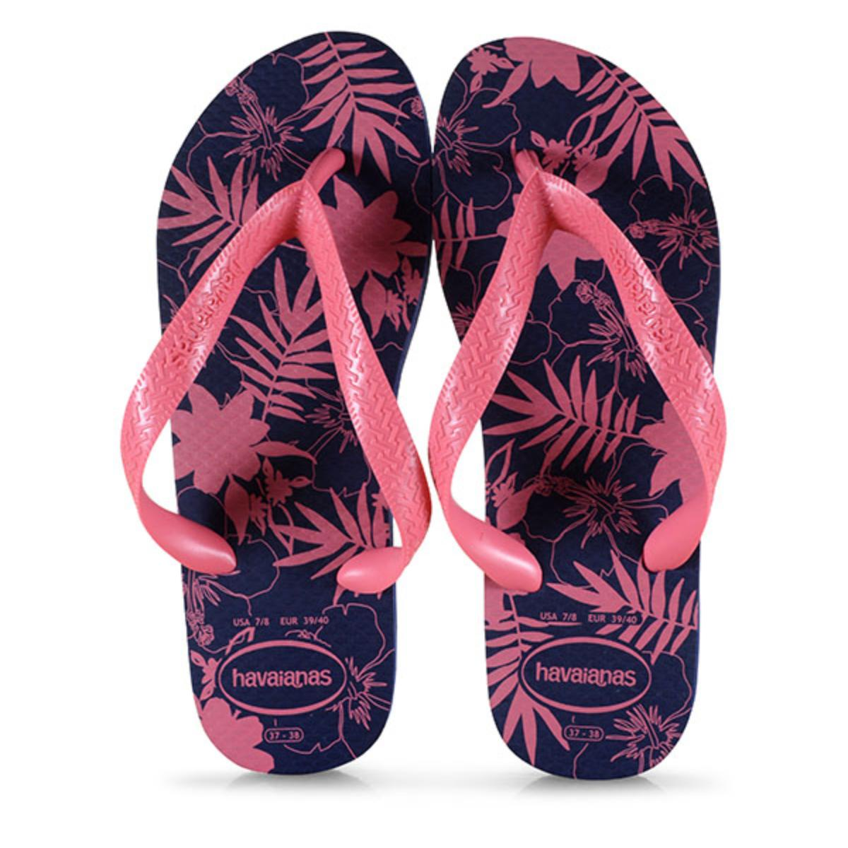 Chinelo Feminino Havaianas Color Floral Marinho