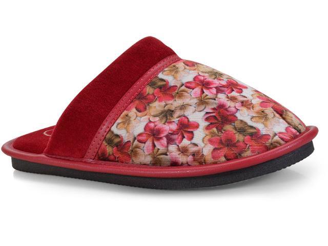 Chinelo Feminino Leffa 775 Floral Grena