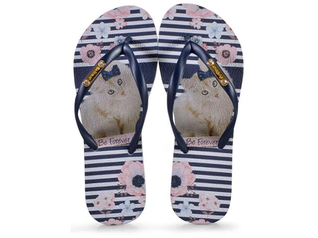 Chinelo Feminino Rafitthy 110.91702 be Forever Cat Stripes Flowers Marinho