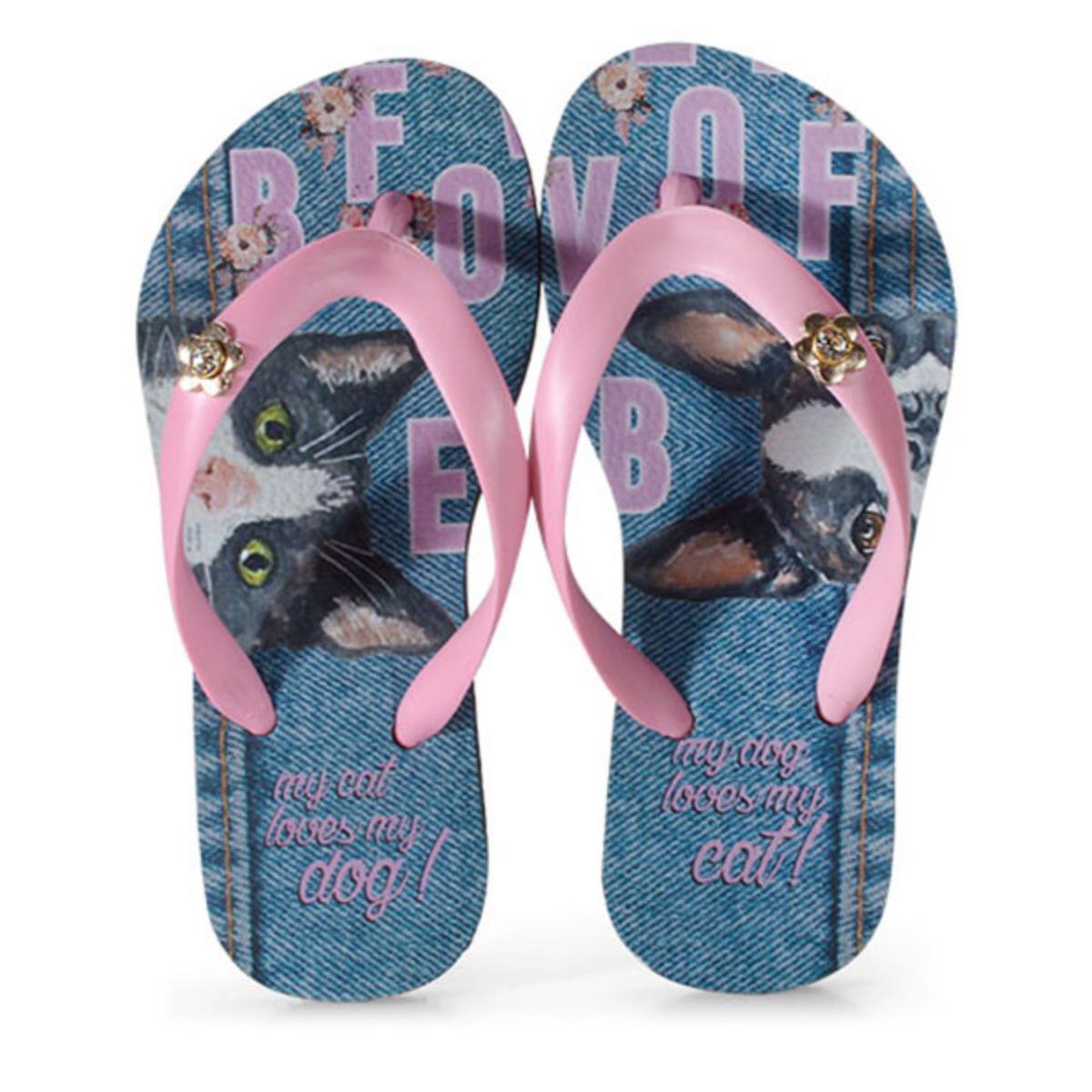 Chinelo Feminino Rafitthy 118.01701 Cat Dog Jeans Rosa/azul