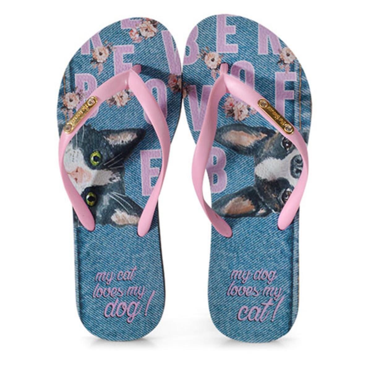Chinelo Feminino Rafitthy 110.01702 Cat Dog Jeans