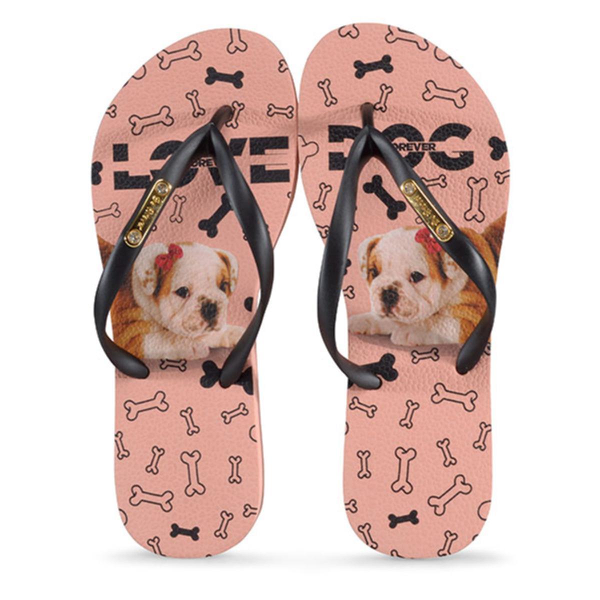 Chinelo Feminino Rafitthy 110.01702 Bulldog Love Dog Preto