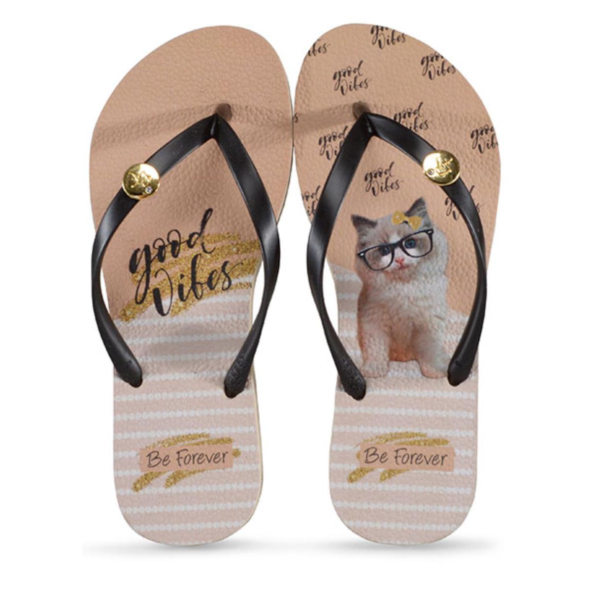 Chinelo Feminino Rafitthy 110.01701 Cat Good Vibes Preto/nude